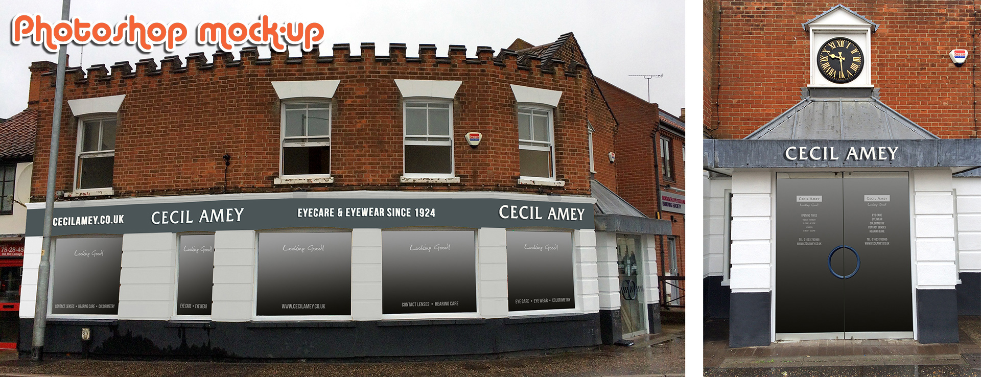 Photoshop mock up of Cecil Amey signs Wroxham